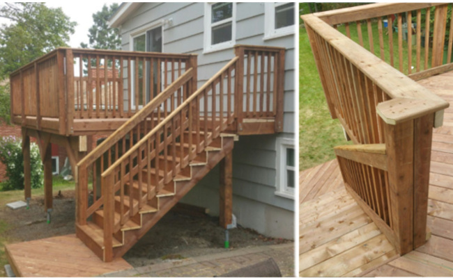 Outdoor patio with stairs on the side