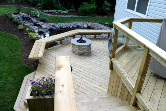 Outdoor patio deck with stairs