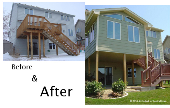 before and after of new deck and sunroom addition