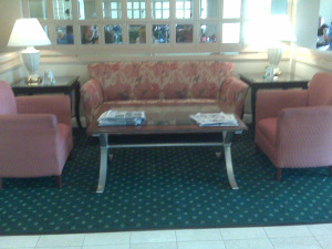 hotel lobby with tight fitting furniture