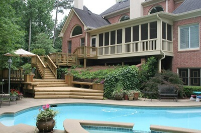 Swimming pool and wood deck