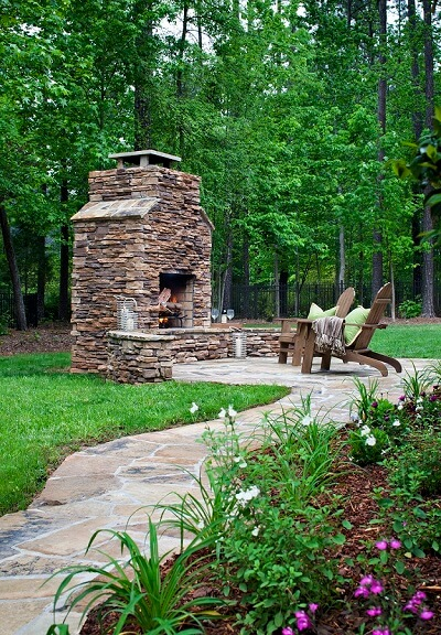 Patio with custom outdoor fireplace