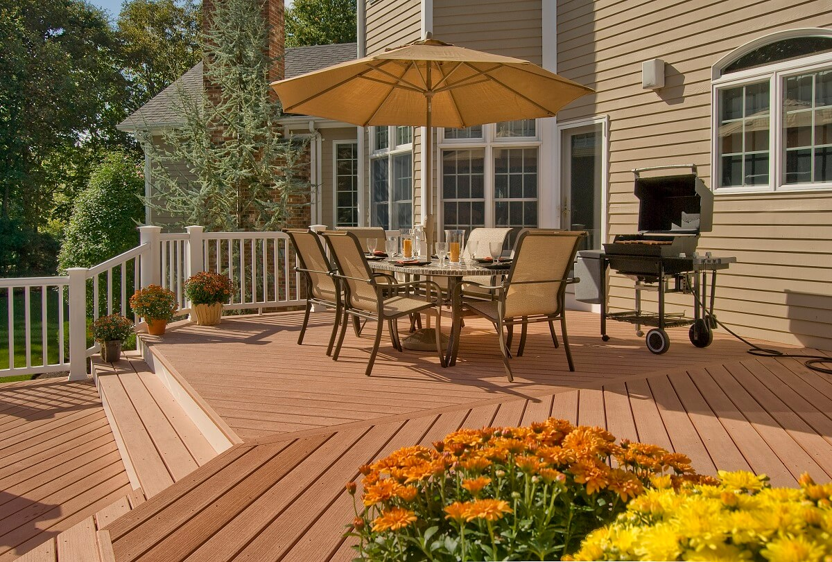 Wood deck with dining area