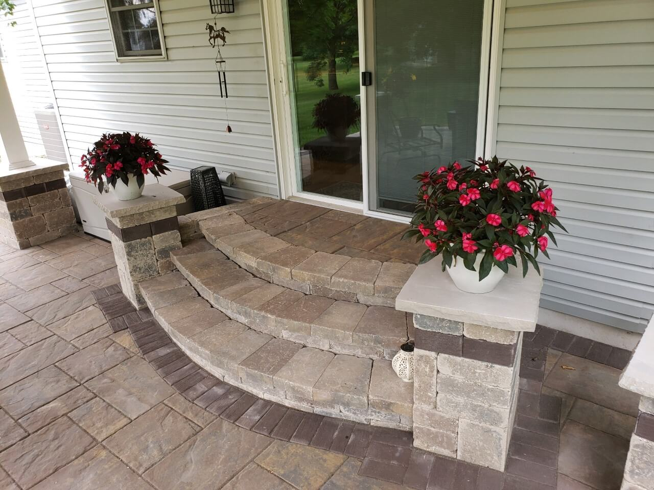 Custom covered patio curved steps