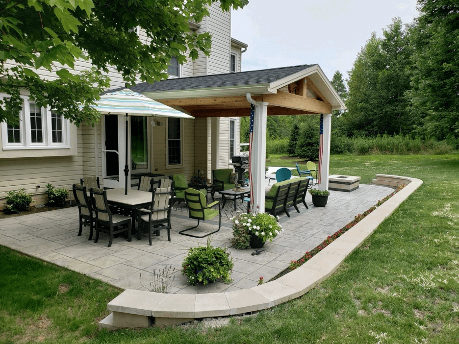 Cozy backyard covered patio with dining area and fire pit
