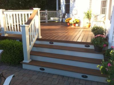 Wide deck steps with lighting