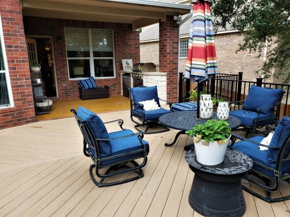 wooden deck with chairs