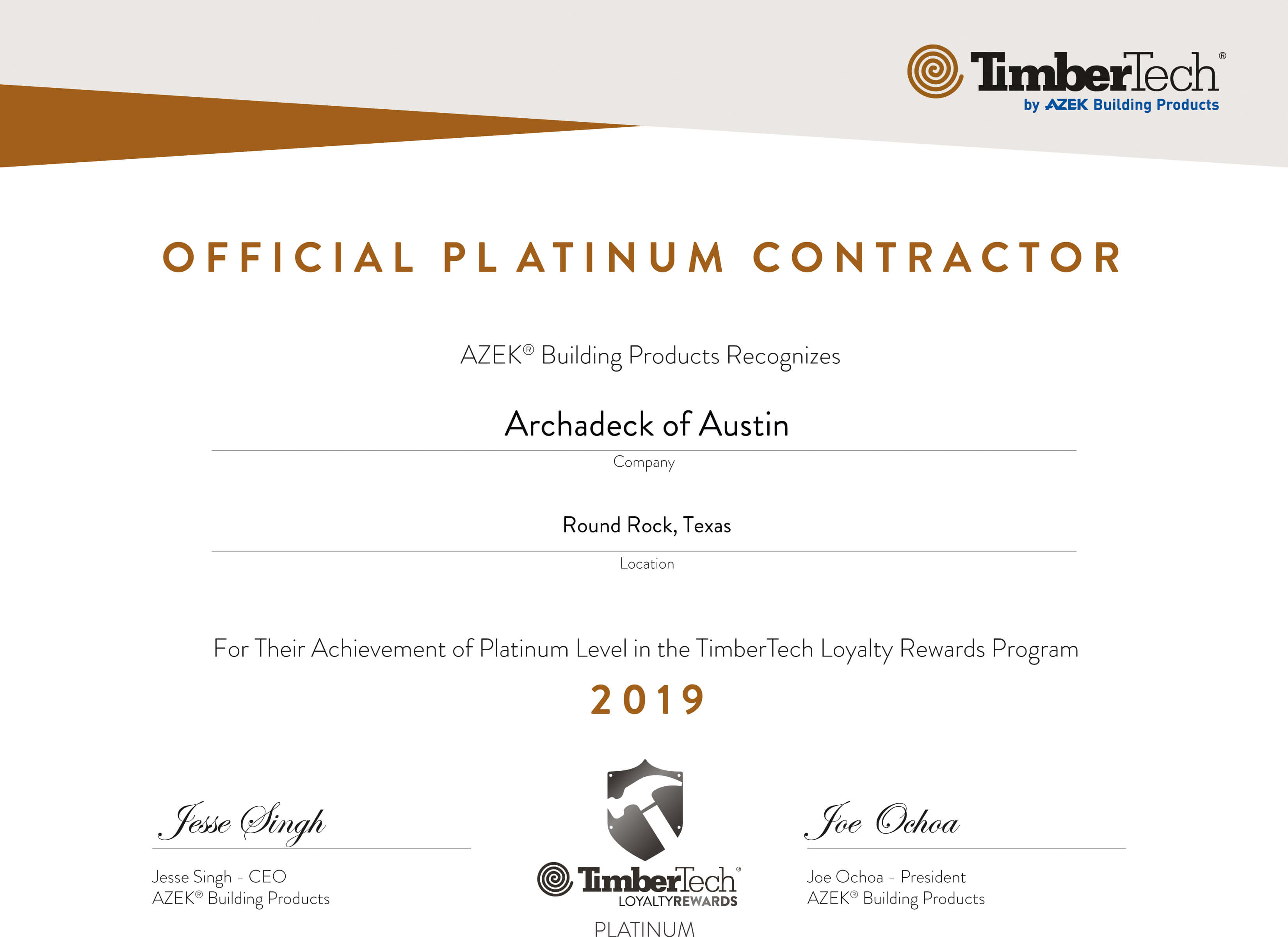 Archadeck certificate