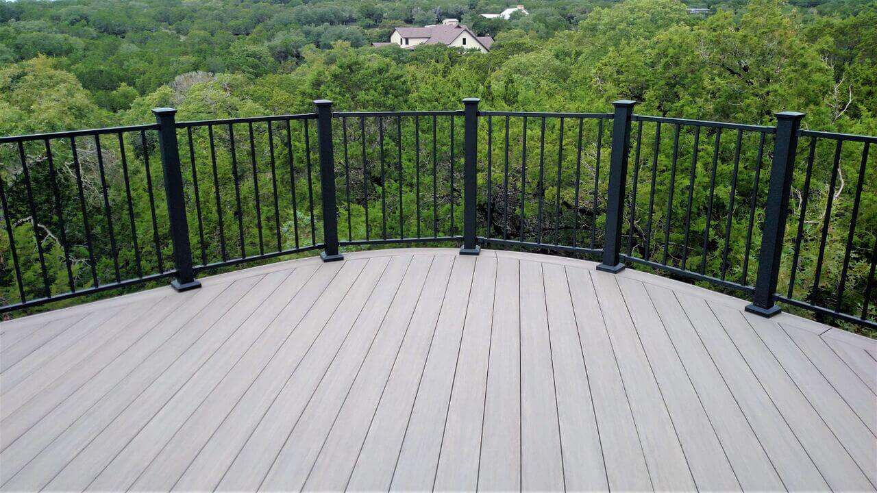 Wood deck with railing