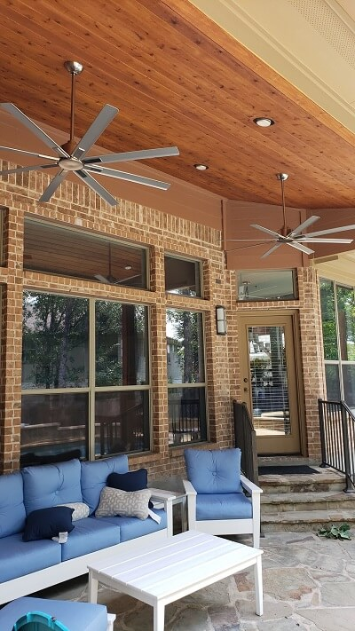 Patio cover ceiling with fan and lighting