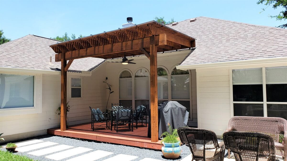 Custom pergola on deck