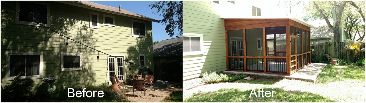 Before and after screened porch