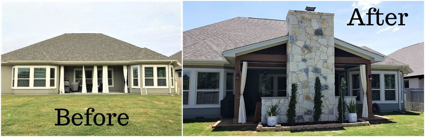 Before and after view of backyard