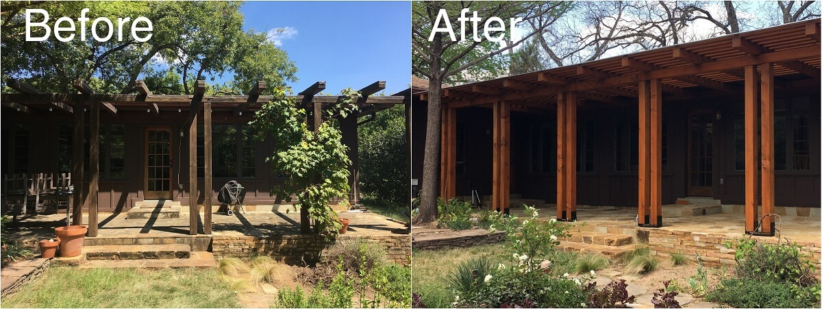 Before and after image of pergola on patio