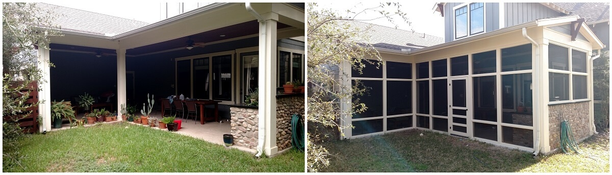 Before and after backyard screened porch
