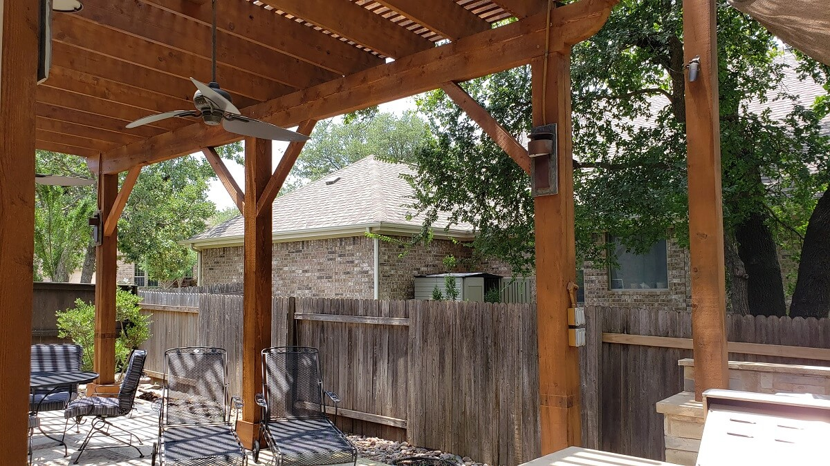 Custom pergola on patio