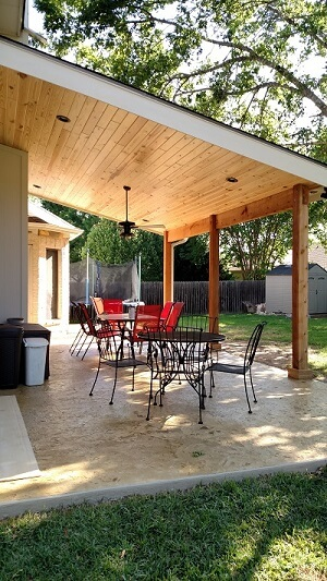 Backyard patio with seating area