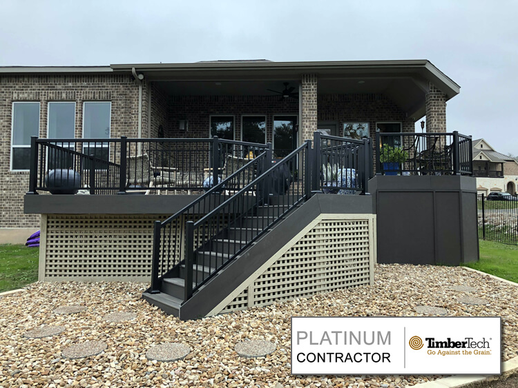 Backyard deck with railing