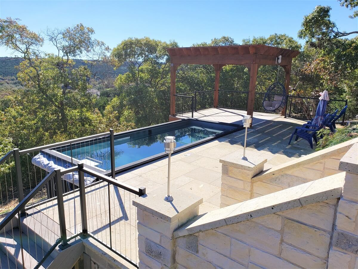 Custom pool deck and pergola