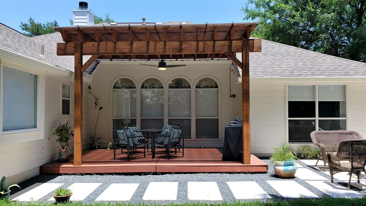 Custom pergola over deck