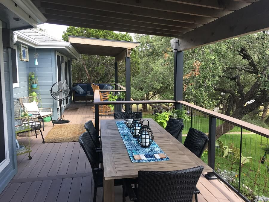 Backyard deck with dining area