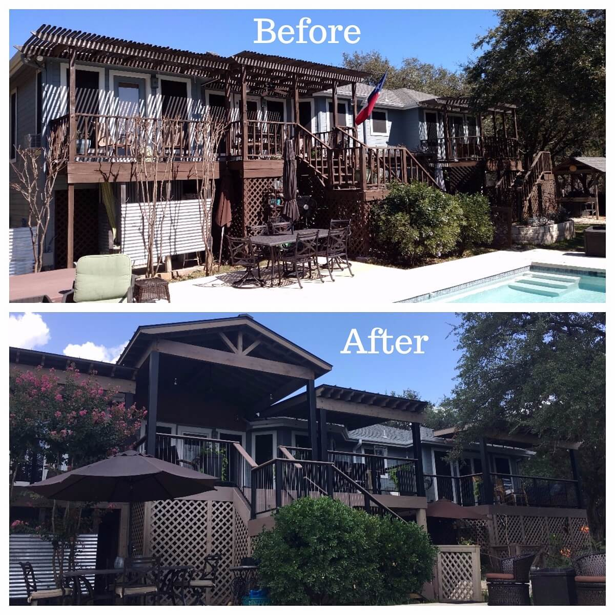 Before and after image of deck and pergola