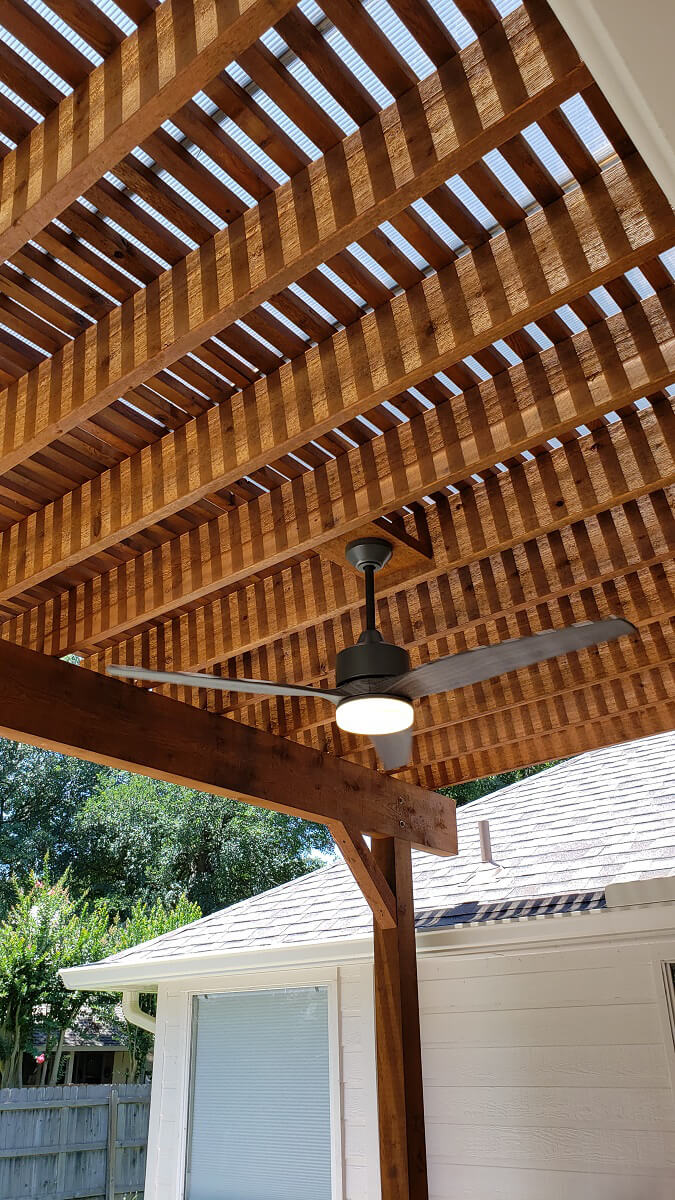 Custom pergola design with ceiling fan
