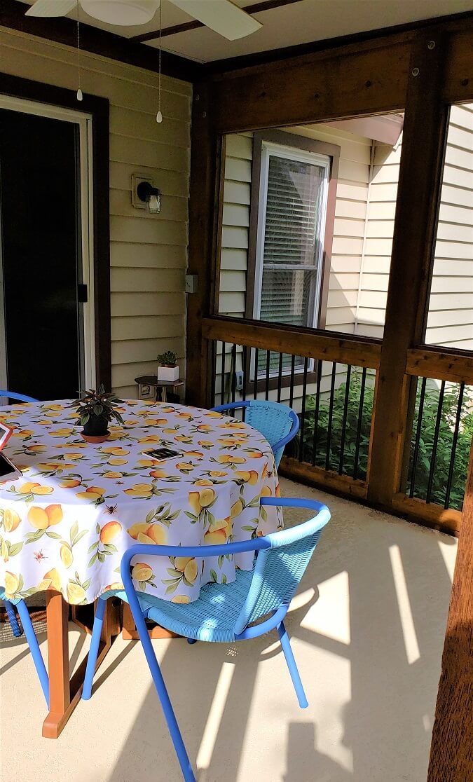Screened porch with dining area