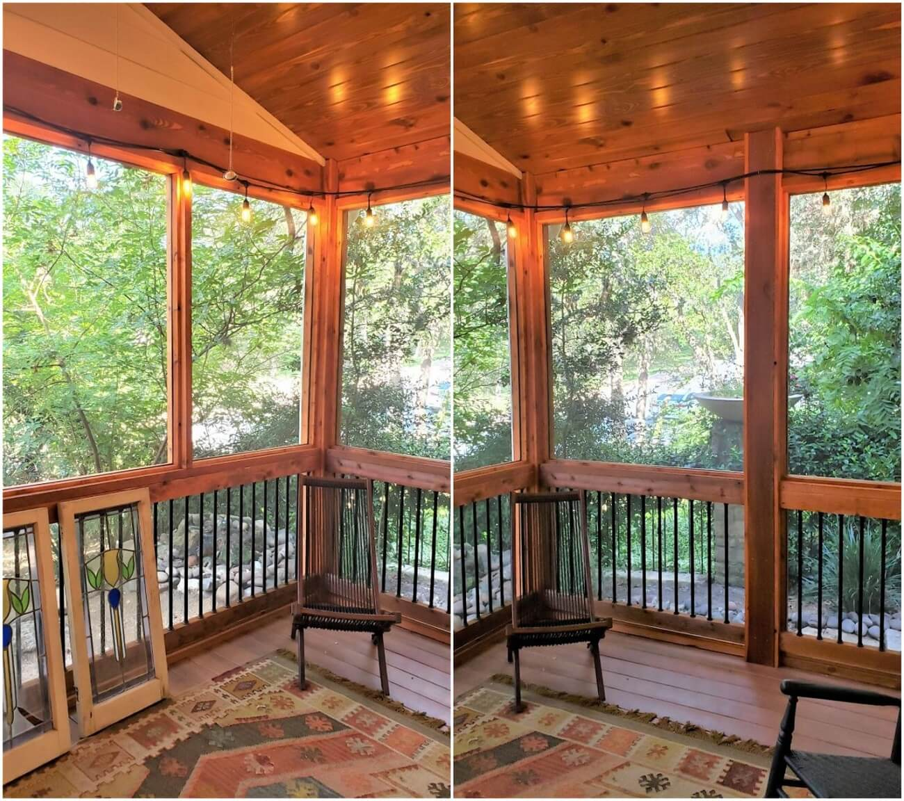 New screened porch interior view