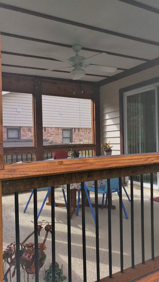 Interior view of screened porch from outside
