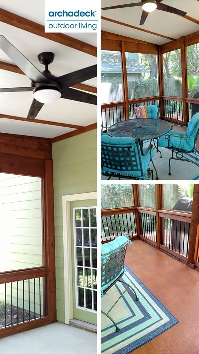 Screened porch collage