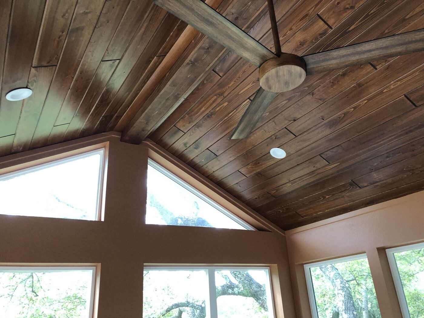 Sunroom ceiling detail with lighting