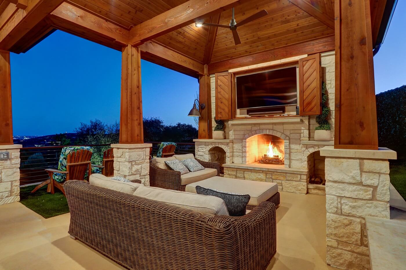 porch with fire place