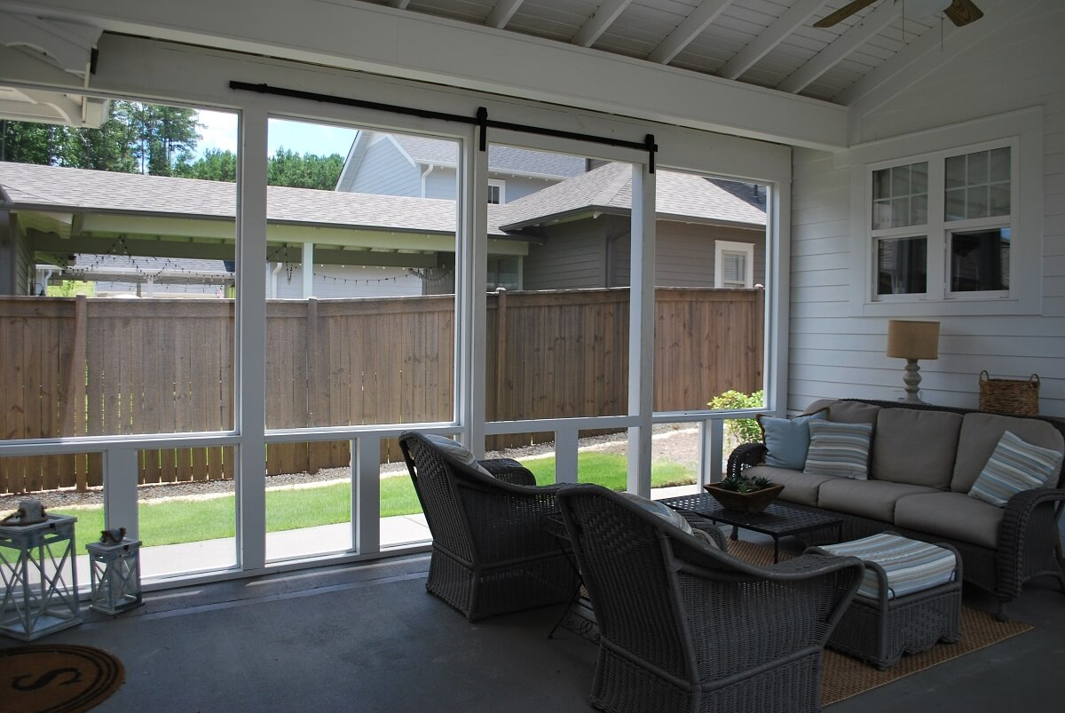 Screened porch with barn slide doors