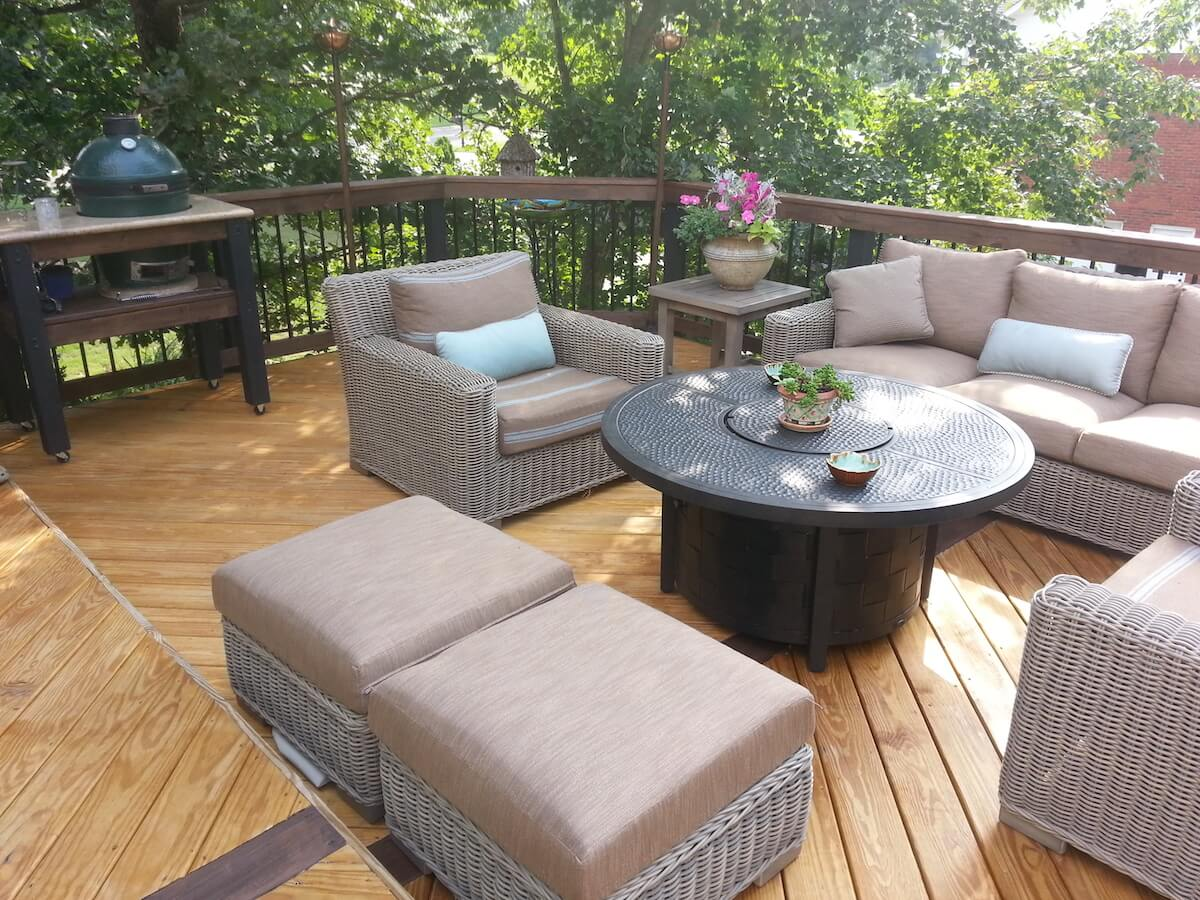 Wood deck with outdoor kitchen and seating area