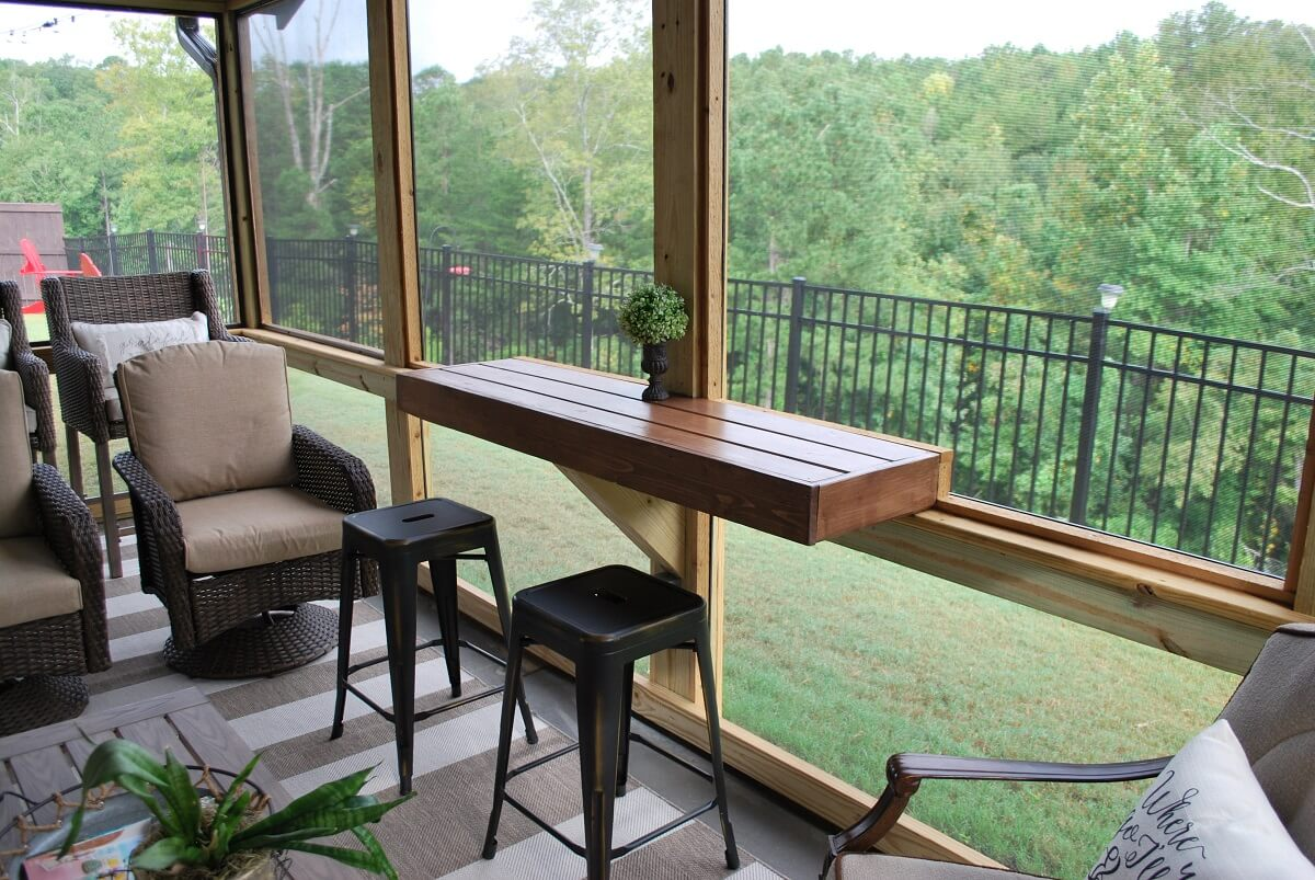 Drink ledge on screened porch