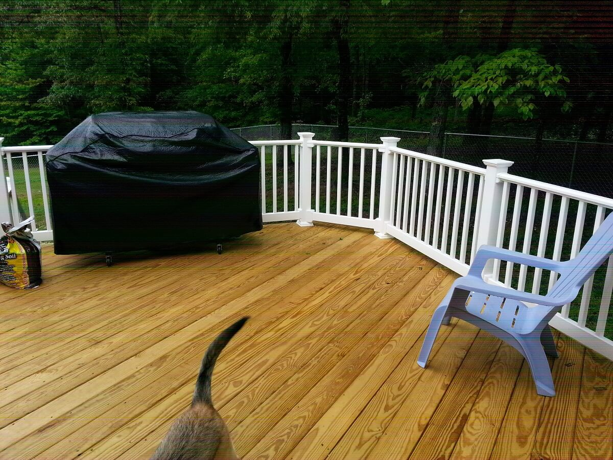 Wood deck with outdoor kitchen