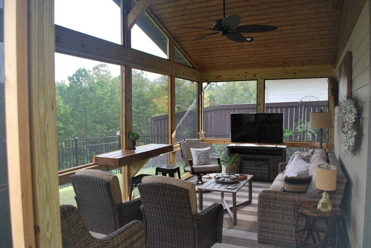 Cozy custom screened porch