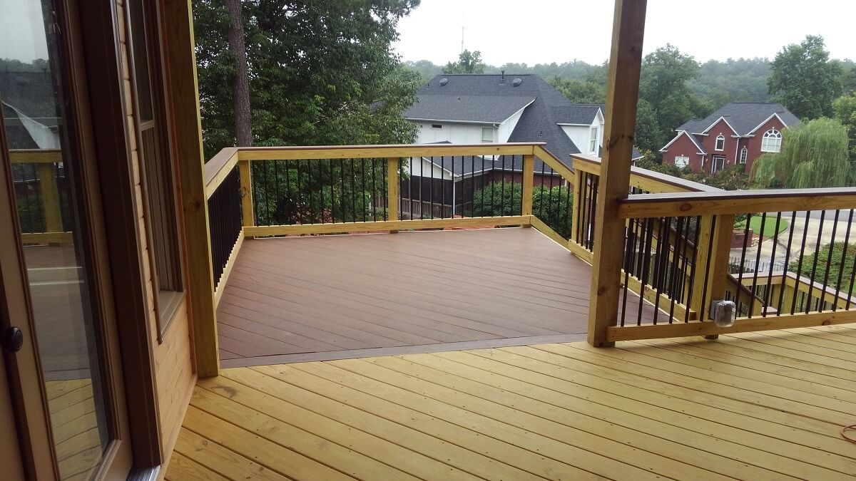 Wood deck with railiing