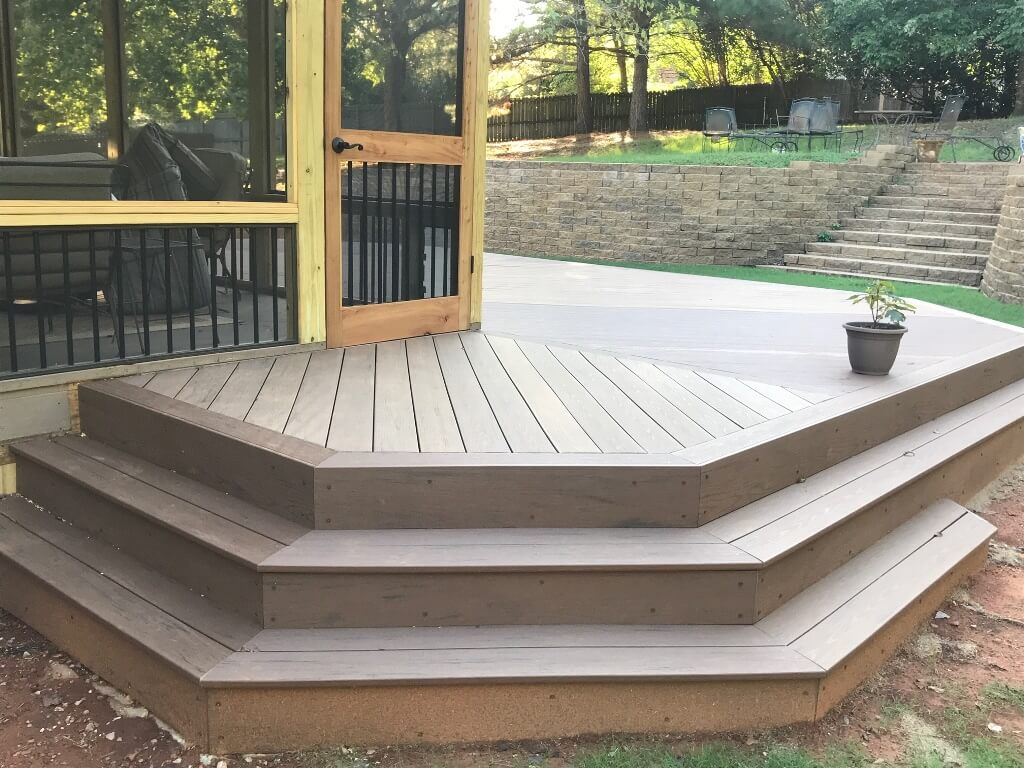 Wood deck details and exterior view of screened porch