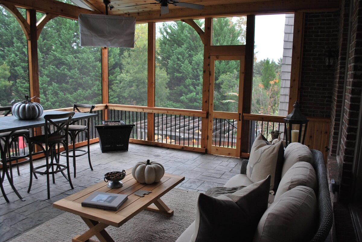 Interior view of custom screened porch