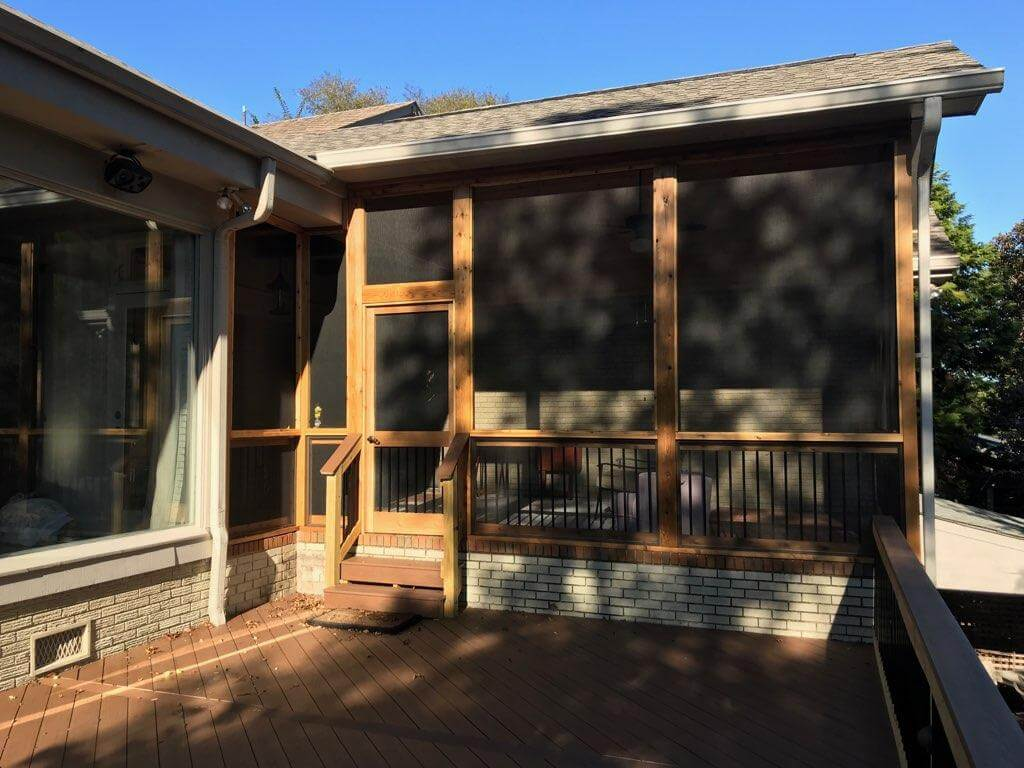 Screened porch and wood deck