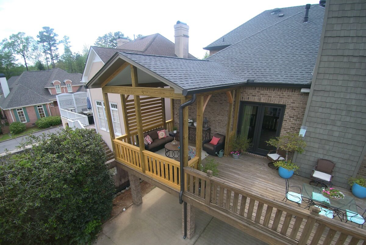 Custom elevated privacy deck and open porch