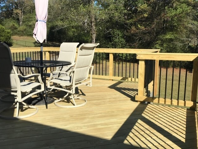 Seating area on wood deck