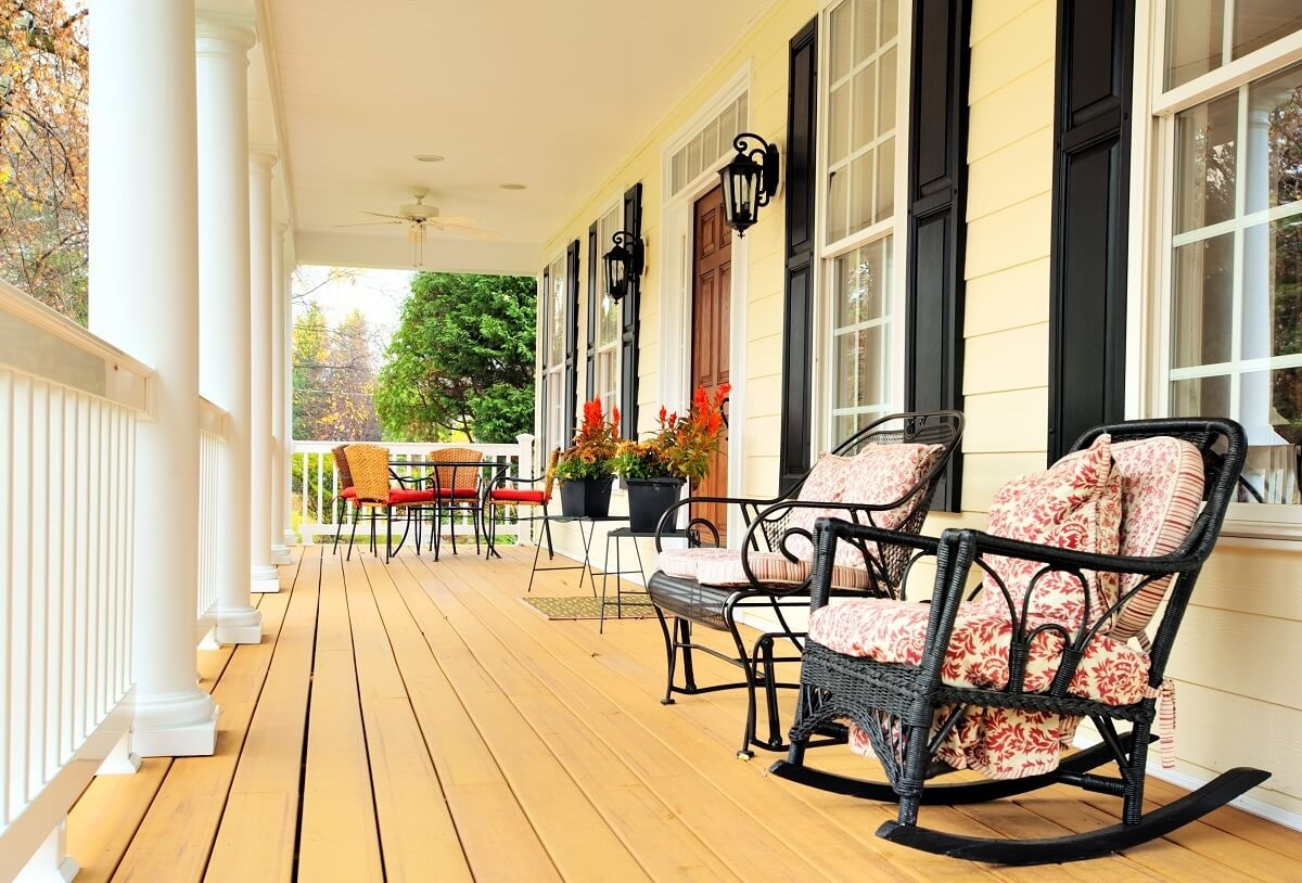 Custom front porch with seating area