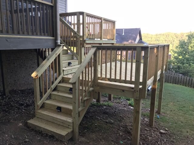 Wood deck with staircase