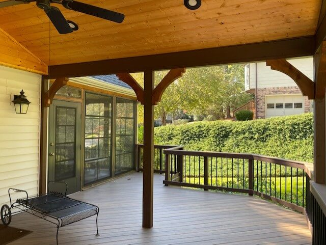 Wood deck and covered porch