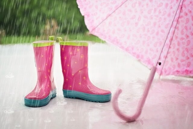 Rain boots and umbrella for rainy days