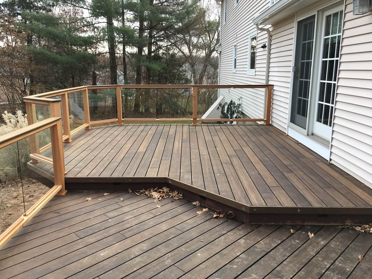 Custom bamboo deck with glass panels