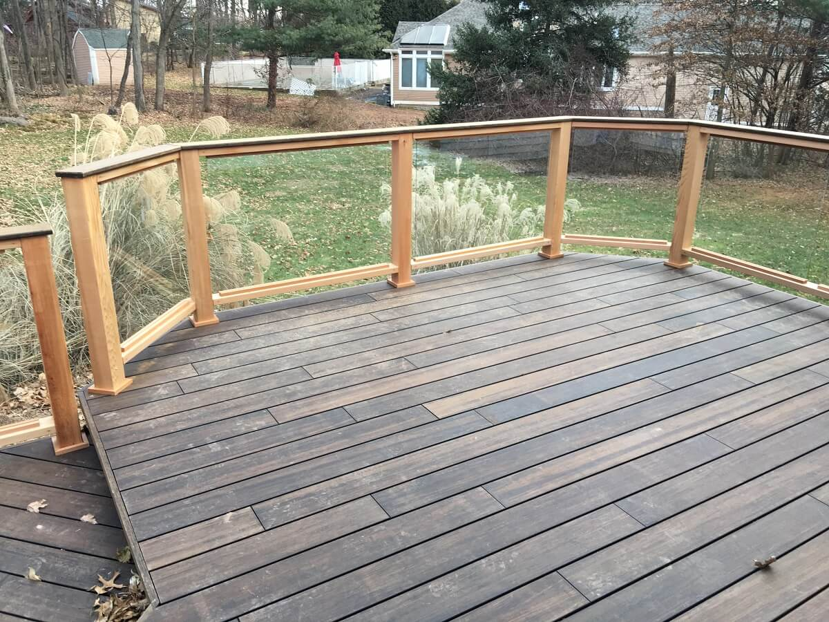 Bamboo deck with tempered glass panels